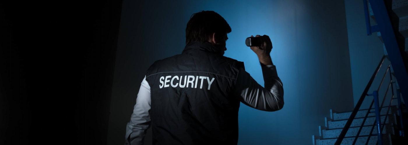 security inspecting the building